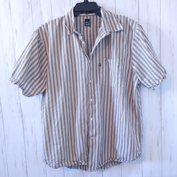 Volcom Other - VOLCOM Short Sleeve Striped Casual Button Up XL